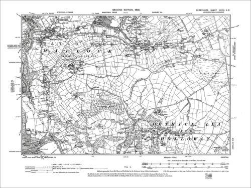 N Old Map Derbyshire 1900: 34-NE Cromford Tansley Matlock