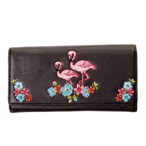 Banned vintage rockabilly poretmonnaie monedero Cartera-Flamingo negro
