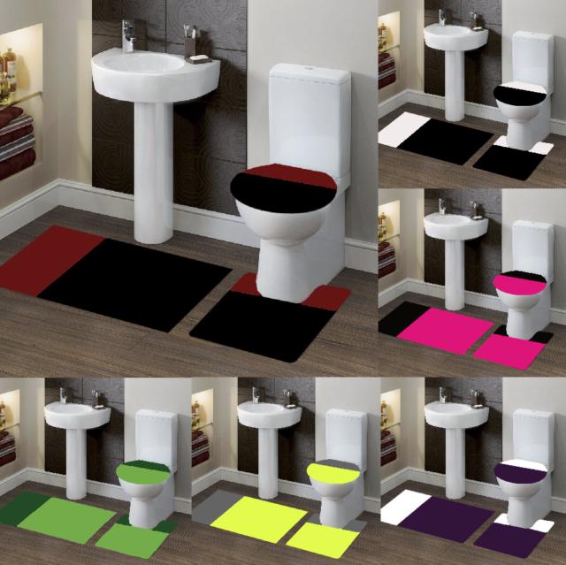 XinYiQu 2 Piece Bath Rug Set Cobblestone Bathroom Carpet Rugs Combo Non-Slip Toilet Mat Black 19.68x31.49/&19.68x15.74