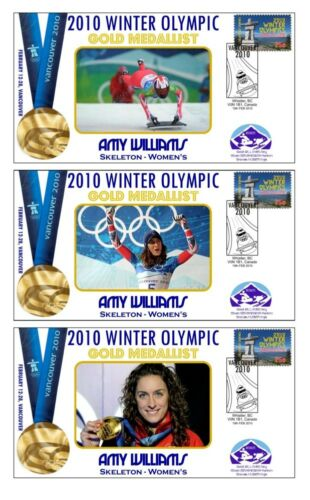 AMY WILLIAMS 2010 OLYMPIC SKELETON SET OF GOLD COVERS