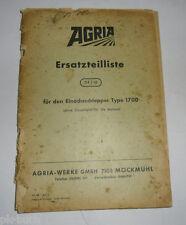 Ersatzteilliste 54/12 Agria für Einachsschlepper Type 1700  Stand 1968