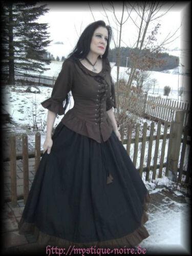 Medieval Dress Blouse Skirt black-brown Baroque SCA Steampunk Reenactment