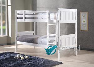 Milan Wooden Kids Bunk Bed White Shaker Style Modern Grey 3ft