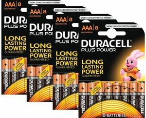 32 x Duracell Plus Power MN2400 AAA Batteries Long-Dated