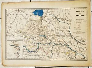 Cartina Geografica Provincia Di Pesaro Urbino.1868 Carta Geografica Provincia Mantova Asola Volta Ostiglia Castiglion Vallardi Ebay