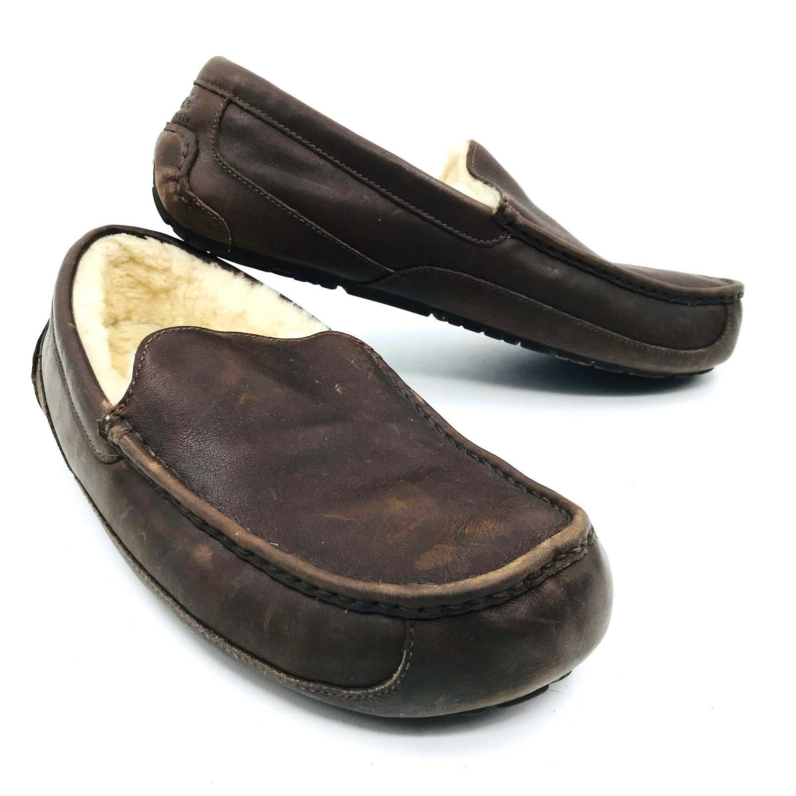 ff4cab3f36d Details about Ugg Australia Ascot Brown Leather Slippers Mens Size 17