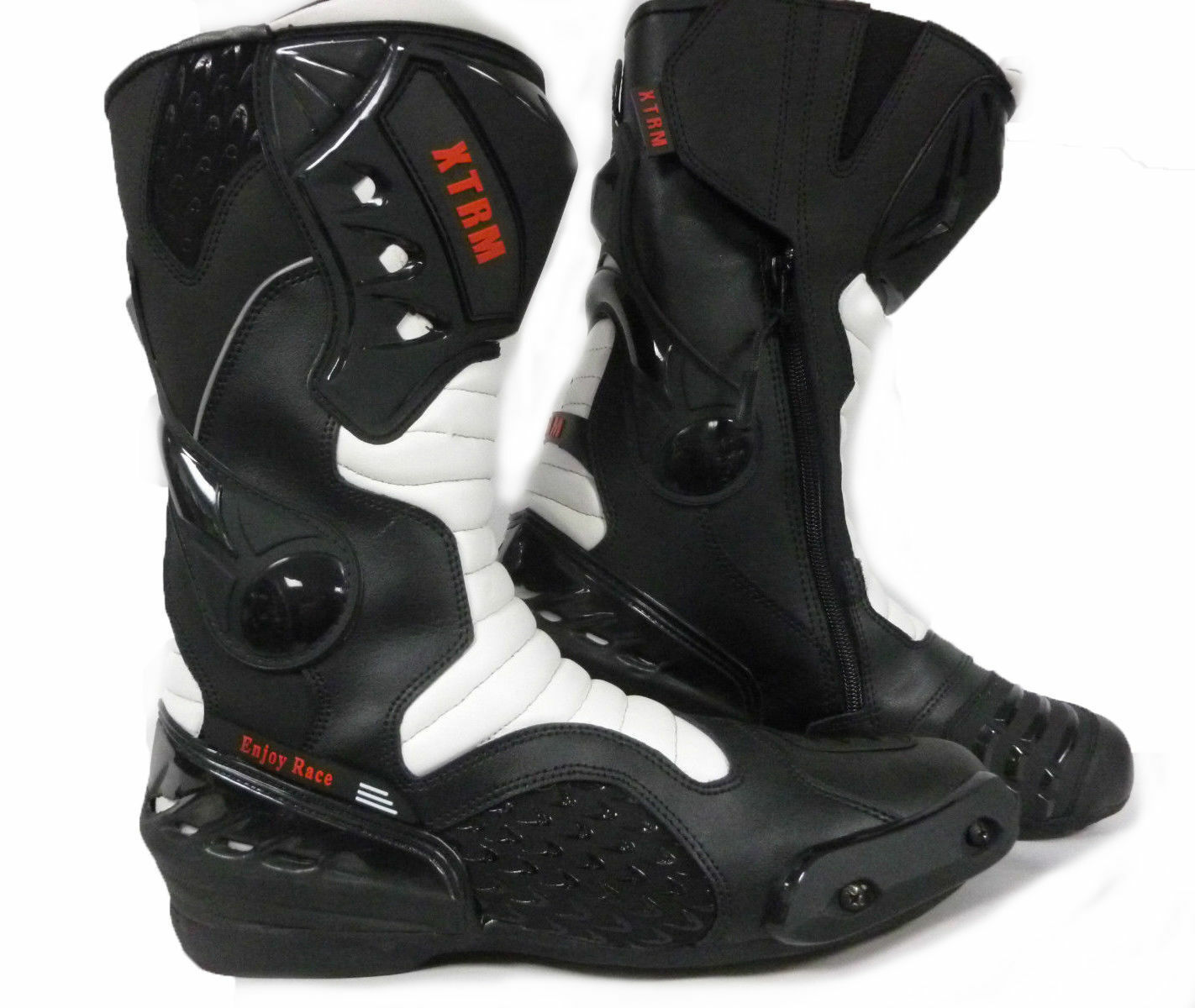 Motorcycle Boots, Motorbike Boots, Racing CE Armoured Sports Boots Black White