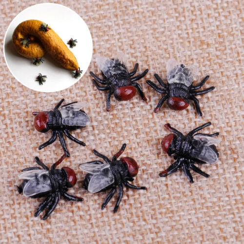 100Pcs Rubber Fake Fly Flies Vivid Bug Joke Toy Halloween Trick Party Horror