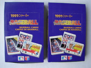 Lot of 2 1991 O-Pee-Chee Premier Baseball Hobby Box TAKEN FROM A SEALED CASE
