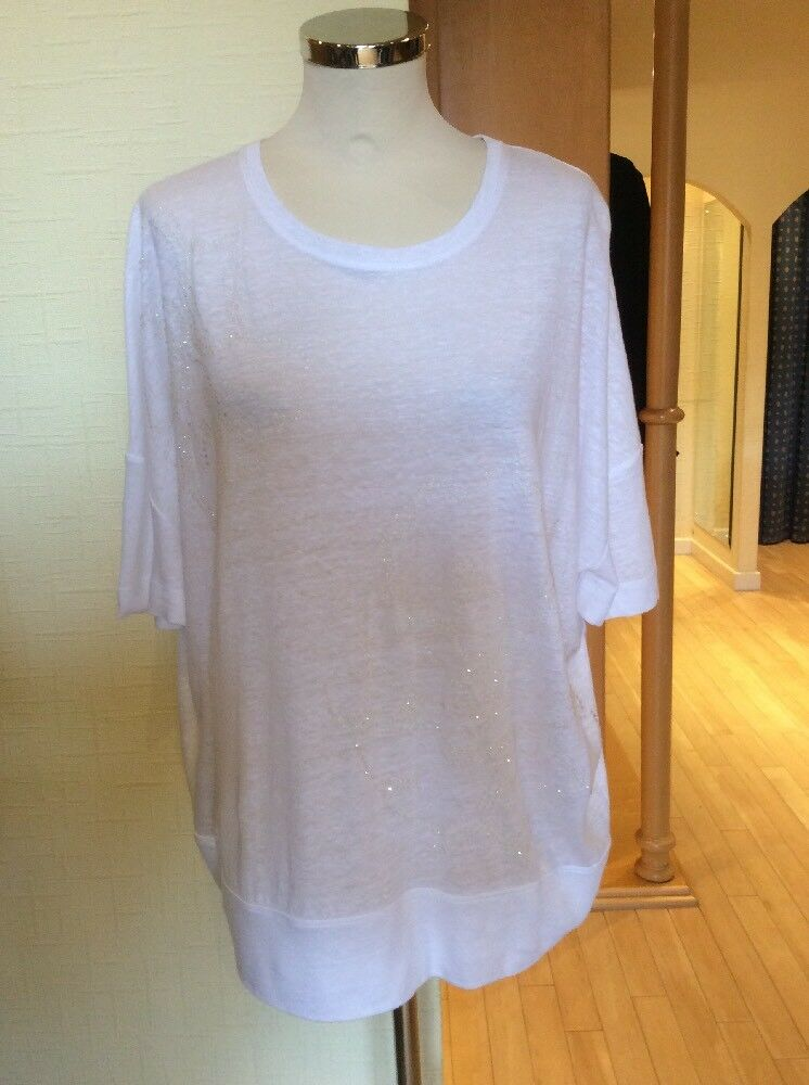 Riani Top Größe 10 BNWT Weiß Linen Flower Pattern RRP  Now