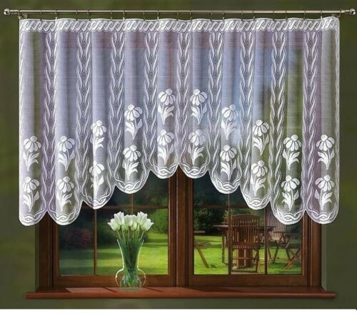 READY TO HANG FLORAL  NET CURTAIN FOR ANY ROOM 230 cm x 120 cm