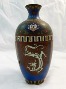 BEAUTIFUL CHINESE PURE HANDWORK DRAGON PHOENIX FLOWER OLD BRASS CLOISONNE VASE