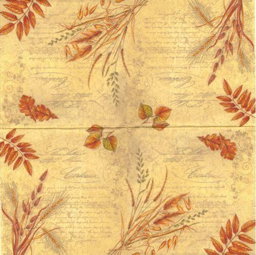 2 Serviettes en papier Automne Blé Decoupage Paper Napkins Autumn