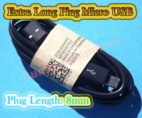 Micro USB Extra Long Plug Data Charger Cable for Samsung HTC Mobile Phone Black
