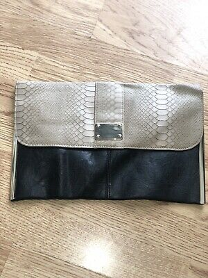 New Womens Ex Dorothy Perkins Black Patent Structured Strap Evening Clutch Bag