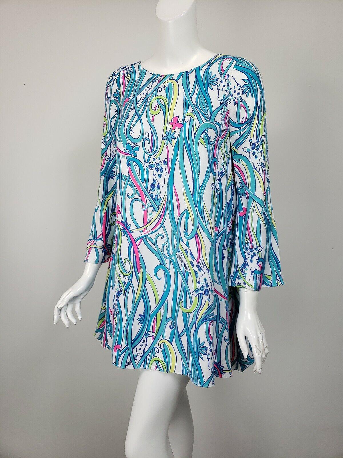 LILLY PULITZER Colette tunique longue histoire Imprimé Crêpe A-ligne Mini robe XXS  198