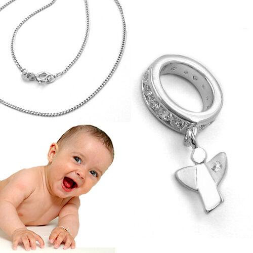 Baby Taufe Schutzengel Echt Weiß Gold 333 Zirkonia Taufring mit Kette Silber 925