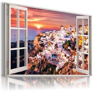 W425-GREECE-SANTORINI-3D-Window-View-Canvas-Wall-Art-Picture-Large-SIZE-30X20-034