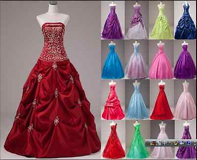 STOCK New Prom Party Ball Gown Formal Wedding Bridesmaid Evening Dress Size 6-16