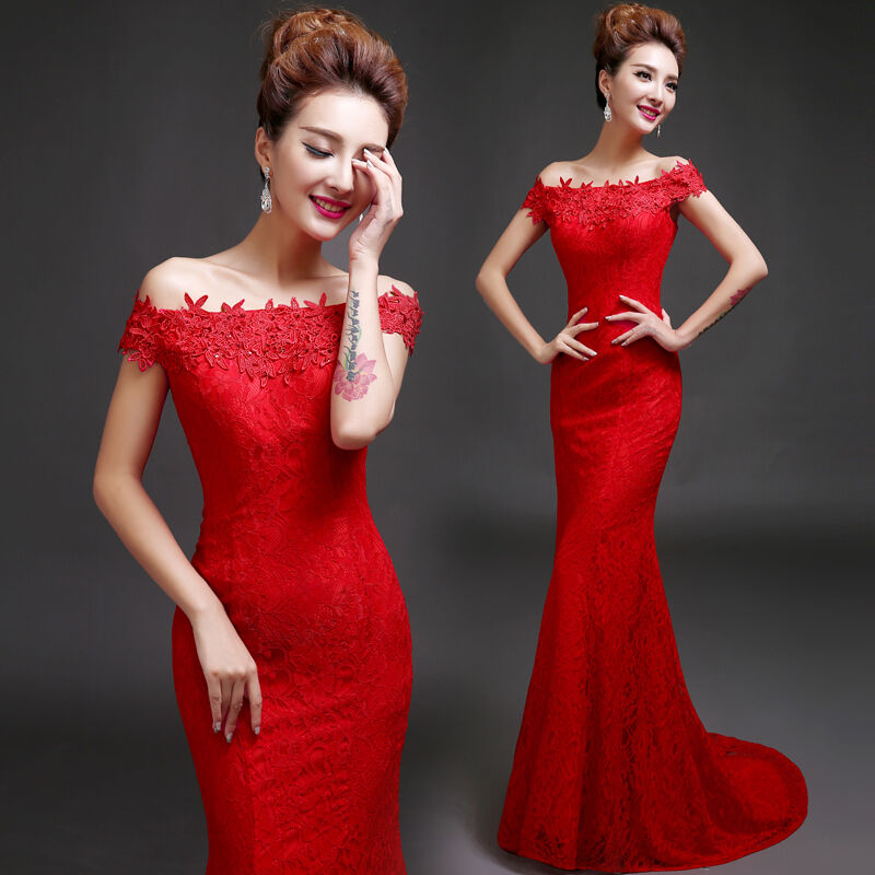 Red Lace Formal Evening Prom Wedding Dress Train Mermaid Dress Off Shoulder Q296