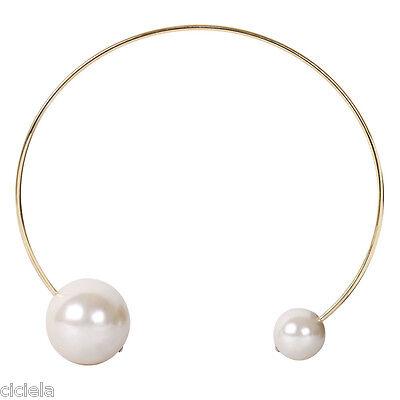Fashion Womens Oversized Faux Pearl Chunky Bib Choker Collar Statement Necklace