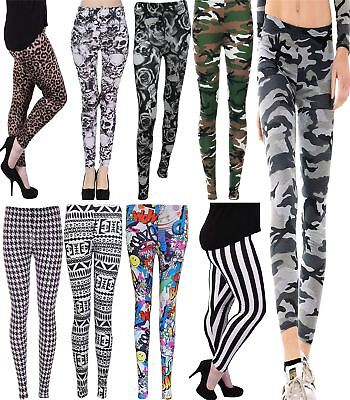 Ladies Printed Full Length Stretchy Leggings Womens Amazing Soft Skinny Pants GläNzende OberfläChe