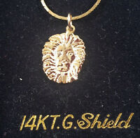 14 Kt Gold Overlay Lion Head Pendant & 14 Kt Gold Overlay 18 Inch Necklace