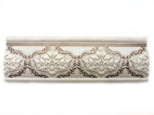 Fliesenbordüre 25x8cm Fliesen Bordüre Mito Pearl hellbeige altweiß platin gold