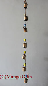 Details About Decorative String Of 7 Metal Vintage Indian Style Wall  Hanging Bells Decoration