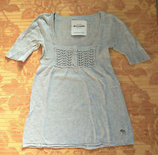 Abercrombie & Fitch Damen Strick Oberteil Shirt Jacke grau Hollister S XS 36 34