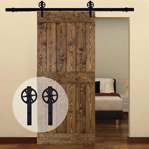 Sliding-Barn-Door-Hardware-Hangers-Kit-Track-amp-Roller-for-Garage-Wood-Door