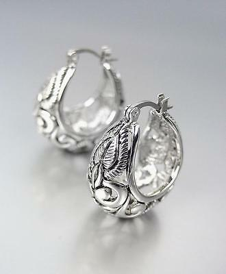 BALINESE Designer Inspired 18kt White Gold Plated Filigree Hoop Earrings
