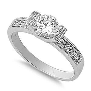 modern tension set round cz sterling silver ring sizes 5 10 ebay. Black Bedroom Furniture Sets. Home Design Ideas