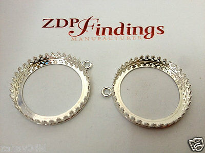 2pcs Quality Cast 25mm Round Base Bezel Shiny Sterling Silver 925 (9483SH)