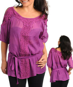 Women-Work-3-4-sleeve-Tunic-Top-Size-14-XL-16-2XL-18-3XL-NEW-BLUE-RUST-MAGENTA