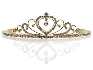 SC Gold Rhinestone Crystal Bridal Wedding Prom Tiara Crown With Flowers 4649G