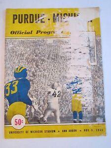 1949 PURDUE VS MICHIGAN FOOTBALL - OFFICIAL GAME PROGRAM - POOR CONDIT. - BOX C
