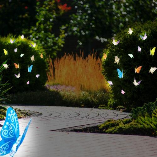 2er Set DEL Solaire Lumières Chaînes PAPILLONS JARDIN DECO feux Polyester