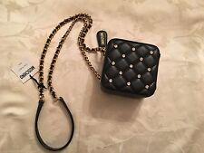 $1995 Moschino Jeremy Scott Barbie SWAROVSKI Stones Square Black Shoulder Bag