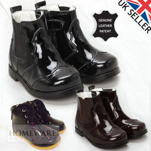 BOYS KIDS PATENT BOOTS DEALER ANKLE CHELSEA BOOT GENUINE LEATHER UK SIZES 4J-12J