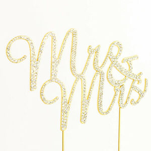 Mr and Mrs Script Gold Glitter Rhinestone Wedding Cake Topper Bride and Groom
