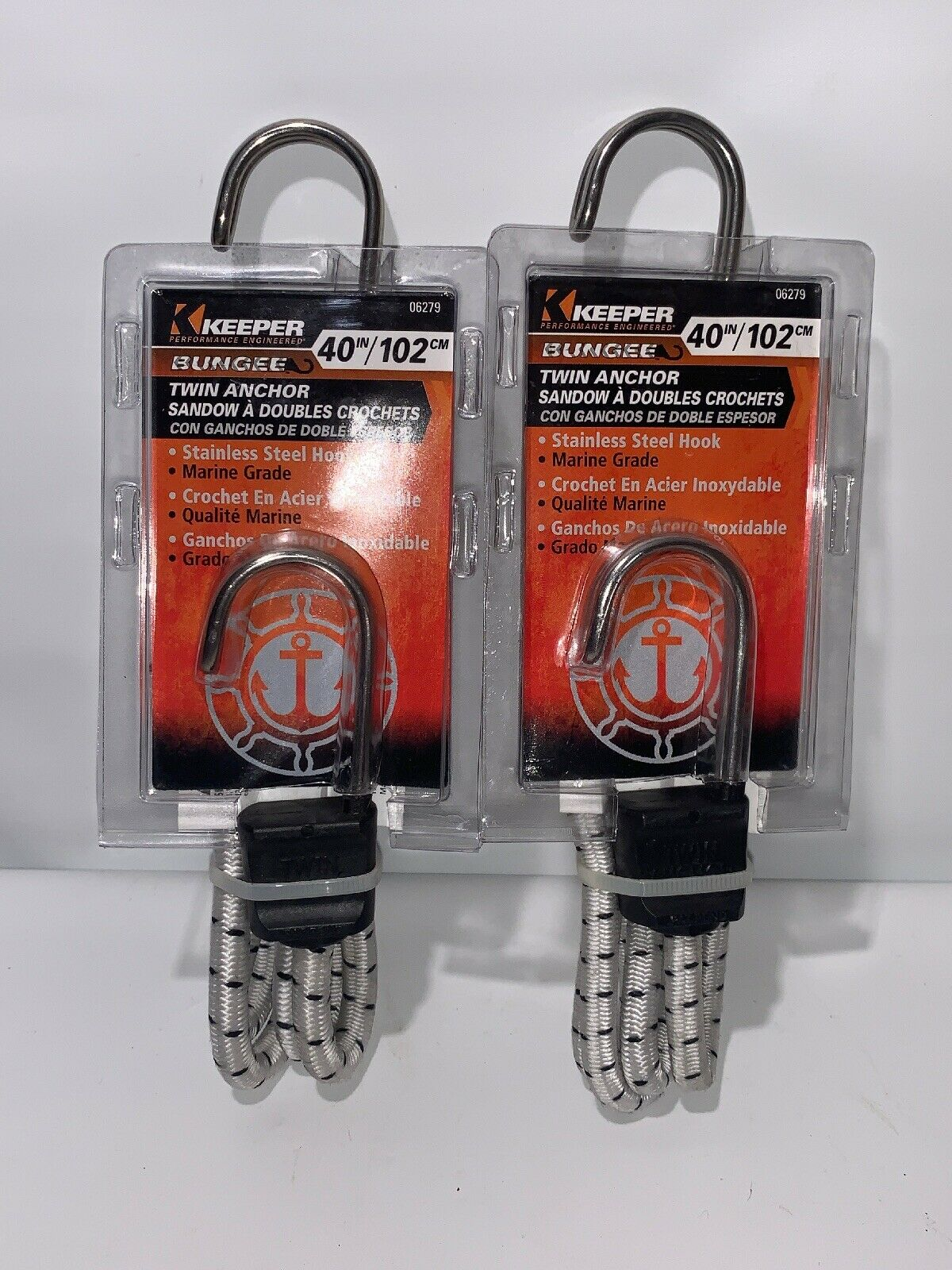 Keeper 06279 40 Marine Twin Anchor Bungee Cord with Stainless Steel Hook