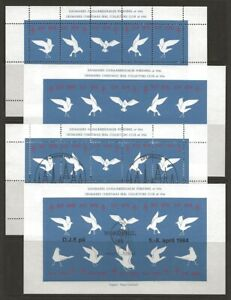 Denmark-DJF-Birds-1976-1980-1984-Local-Xmas-TB-Seal-4-Sheets-VF-NH-Dull-gum