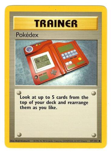 Pokemon Base Pokedex Trainer Uncommon 87/102 Near Mint - WOTC TCG