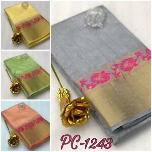 Pure-Silk-Saree-Sari-Indian-Printed-Fabric-Wear-Designer-Dress-Wedding-Blouse