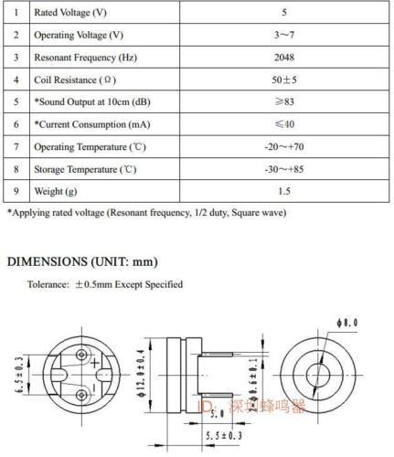 5.5MM 3V-7V buzzer 2 Pin Ultra-thin Passive buzzer Electromagnetic type 12