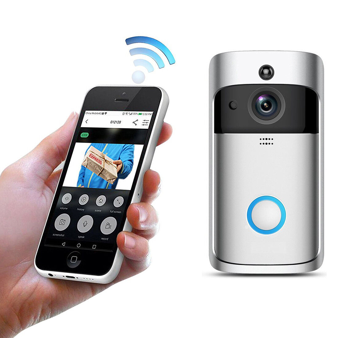 wireless doorbell camera smart wifi remote video door. Black Bedroom Furniture Sets. Home Design Ideas
