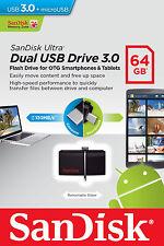 SanDisk Ultra Dual USB Drive 3.0 64GB OTG Pendrive USB 3.0 + Micro USB