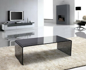 Details About Black Glass Coffee Table   Waterfall Style, Bent Glass