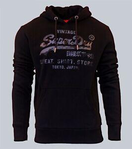 Superdry-Mens-Vintage-Logo-Shirt-Shop-Bonded-Hoodie-Overhead-Sweatshirt-Black